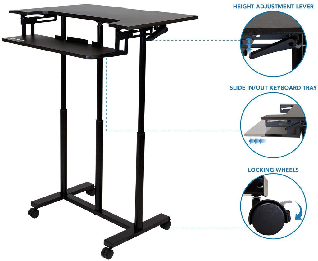 Rife Mobile Standing Desk With Wheels Rolling Sit Stand Workstation F Display Stands India
