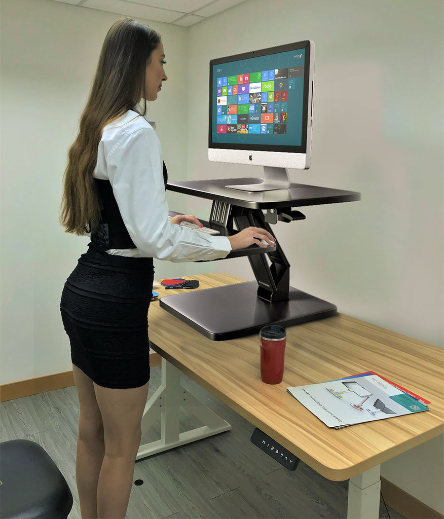 Sit to Stand Desktop Riser Black with Pneumatic adjustment, Black (RDFP-B)