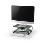 Laptop/Monitor Riser Stand with Rugged, Sturdy, Vibration Free Construction. Holds 20kg (44lbs), Vented Cooling, Black (RS003)