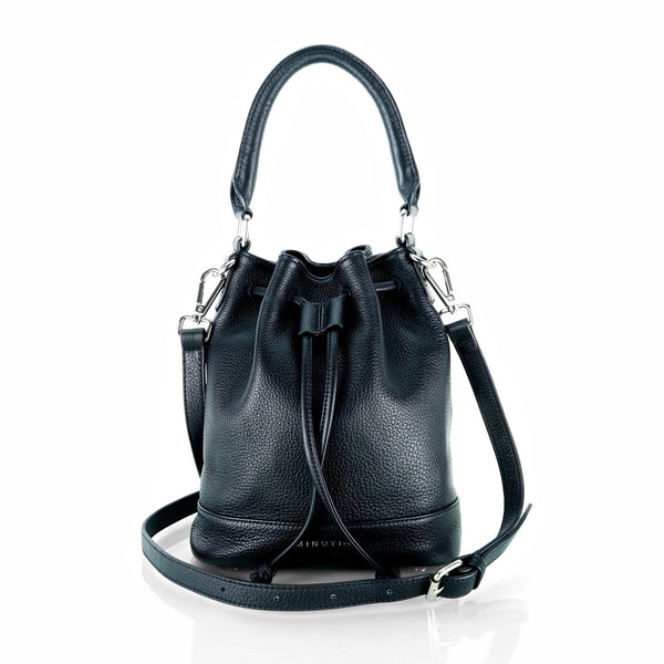 MINUTIAE Bucket Bag in Black Full Grain Leather