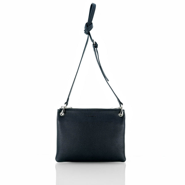 MINUTIAE Cross Body Bag in Black and Cream Full Grain Leather