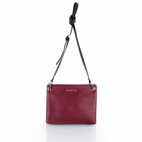 MINUTIAE Cross Body Bag in Black and Marsala Full Grain Leather