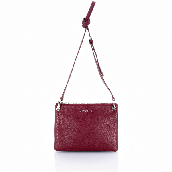 MINUTIAE Cross Body Bag in Marsala and Cream Full Grain Leather