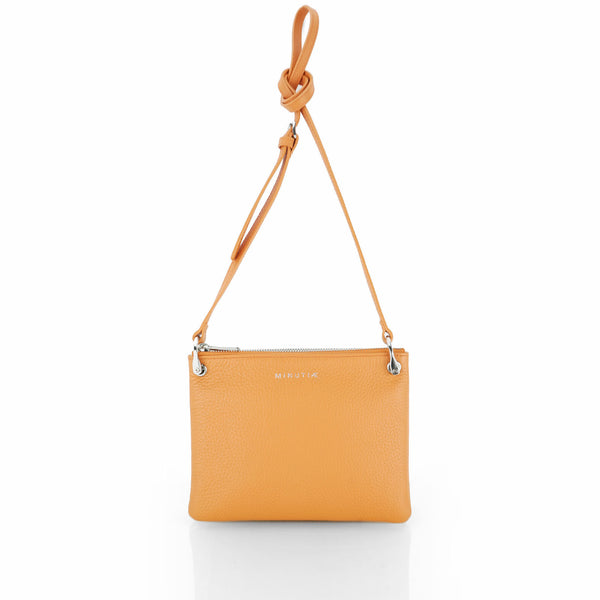 MINUTIAE Cross Body Bag in Orange and Cream Full Grain Leather