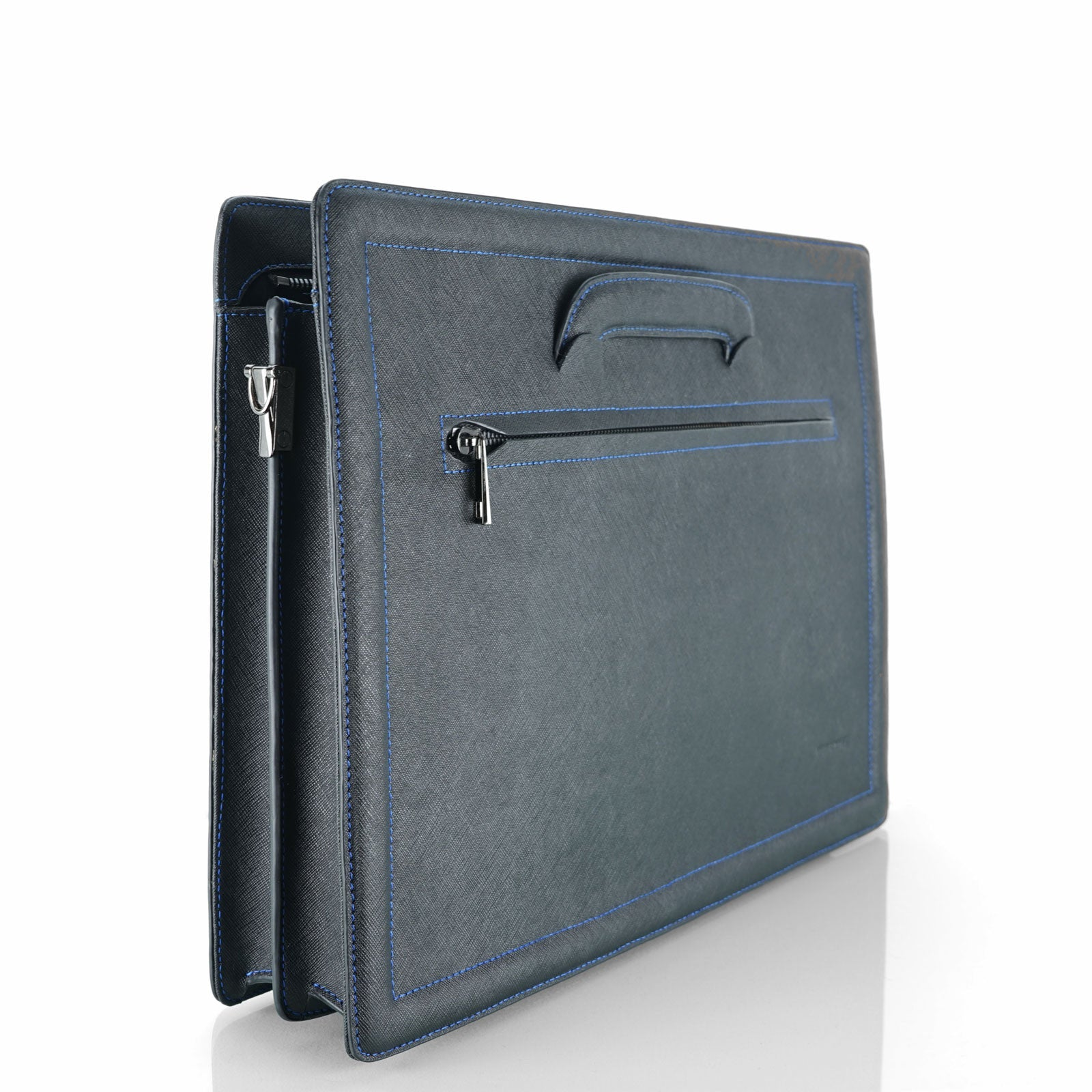 MINUTIAE Briefcase Black Saffiano Leather with Blue Stitching