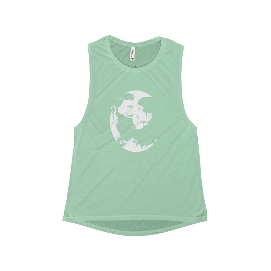 Women's Flowy Scoop Muscle Tank - White Logo - Beard and Lady