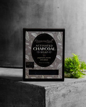 All Natural Vegan  Activated Charcoal Peppermint Tea Tree Soap Bar - Beard and Lady