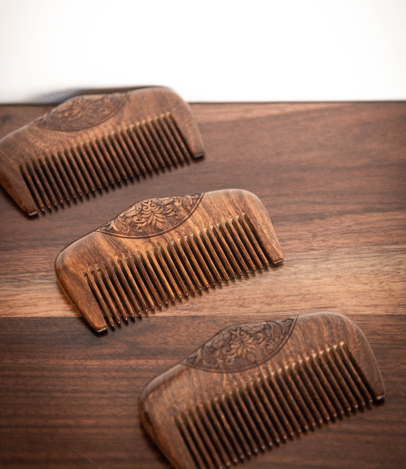 Wooden Hair Comb - Beard and Lady