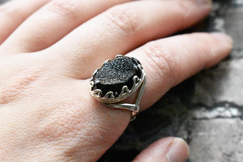 Black Druzy Sterling Ring