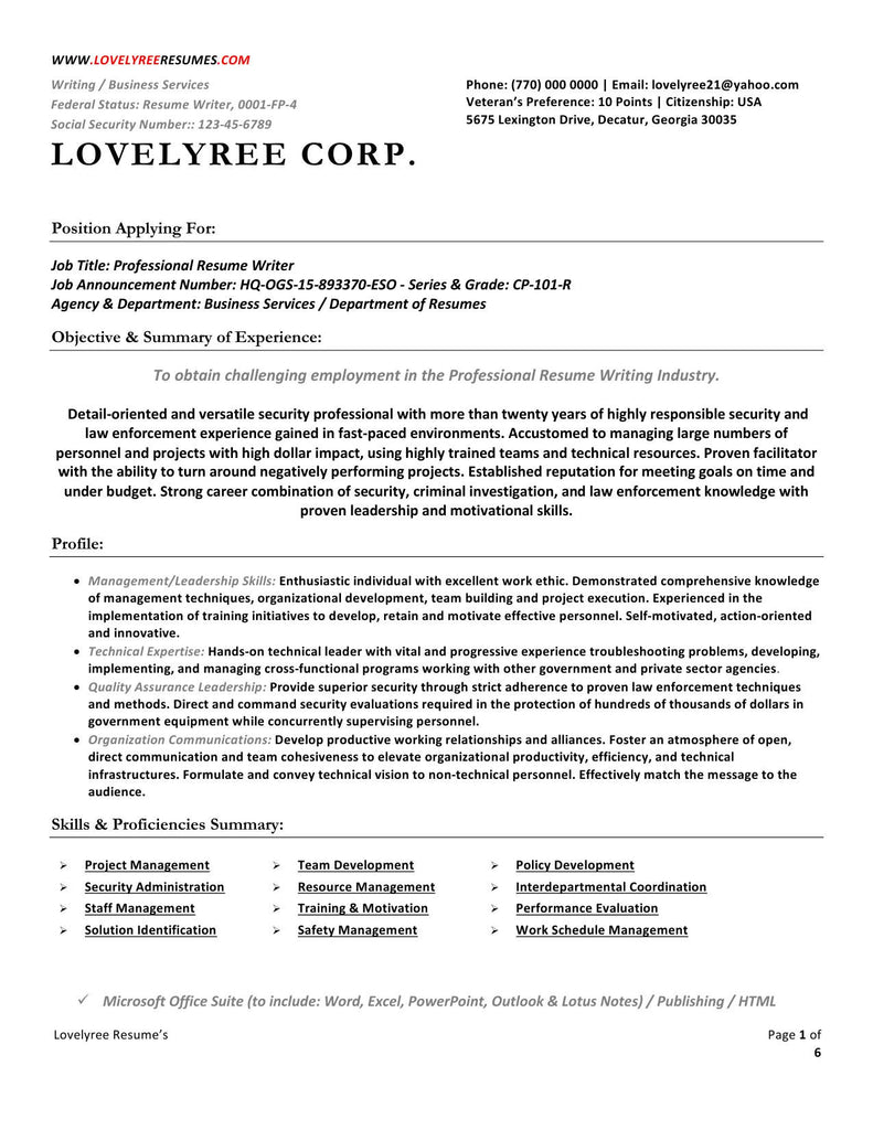 CLASSIC Executive Professional Resume WITH COVER LETTER