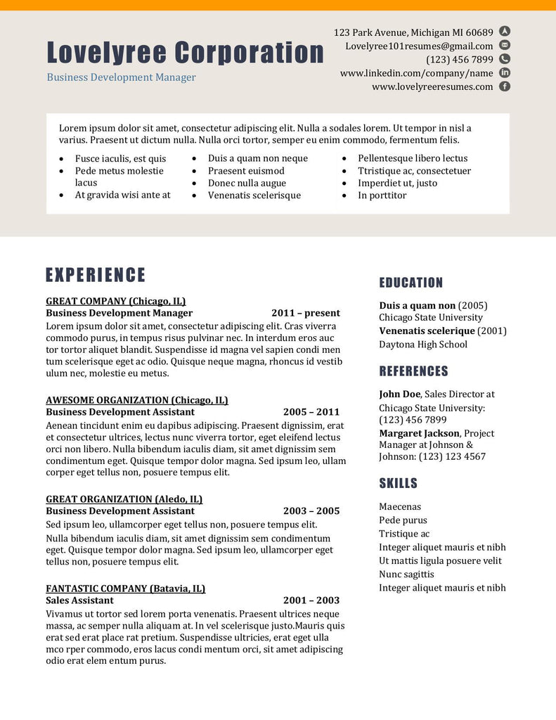 CLASSIC Basic General Combo Template WITH COVER LETTER!