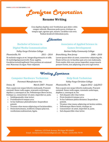 CLASSIC Orange Eye Catch General Resume