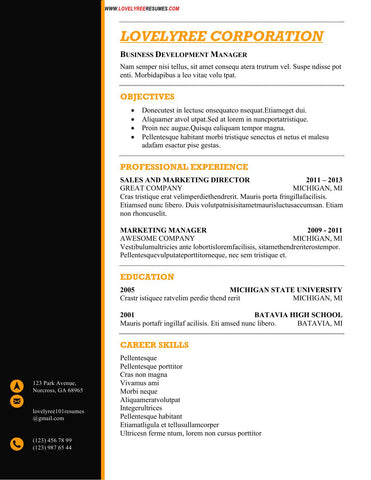 CLASSIC General Resume Template Black & Orange WITH COVER LETTER!