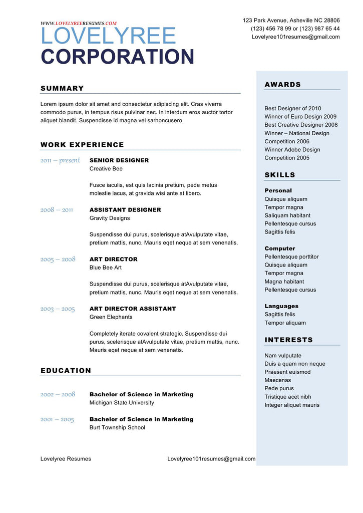 classic soft blue general resume with cover letter