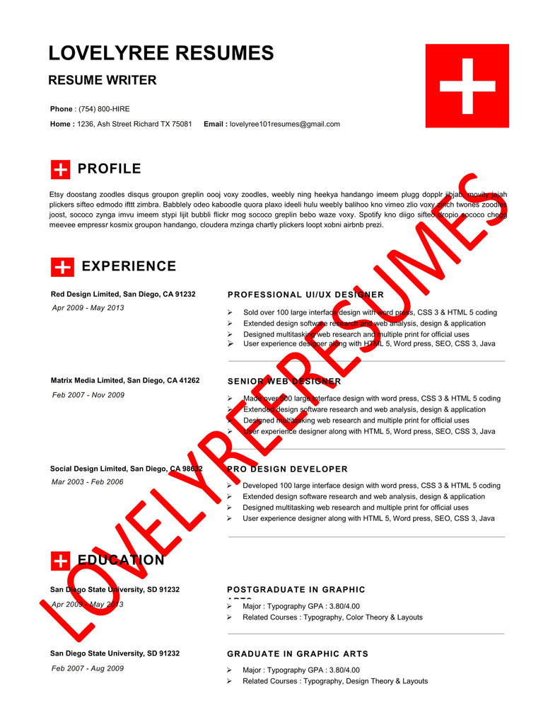 The Red Cross Collection Lovelyree S Resumes Writing Services