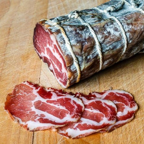 AIR DRIED COPPA (AWARD WINNER) - Available in sliced 50 gram packet. Also available by half kilo whole cut