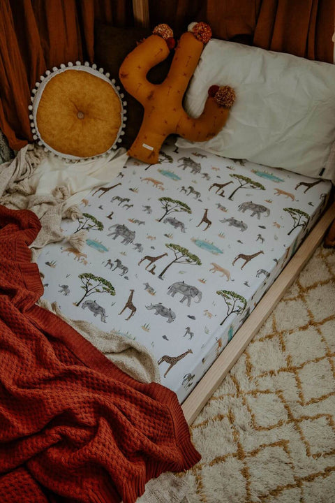 Snuggle Hunny Fitted Cot Sheet - Safari