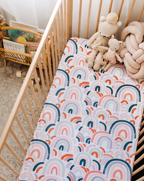 Snuggle Hunny Fitted Cot Sheet - Rainbow Baby