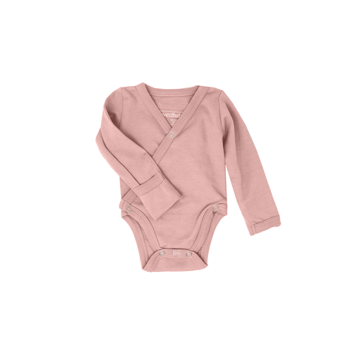 L'oved Baby Organic Long Sleeve Kimono Bodysuit - Mauve-Jack & Willow