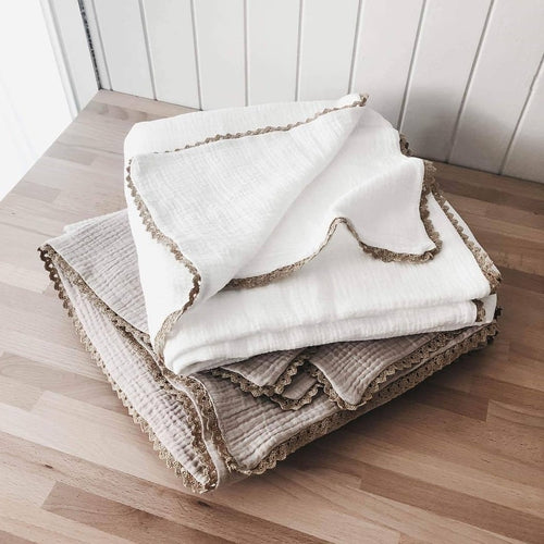 Piper Bug Muslin Double Layer Swaddle Blanket - Taupe Magnolia-Jack & Willow