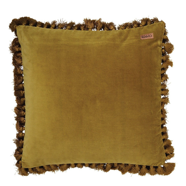 Kip & Co Velvet Tassel Cushion - Tobacco