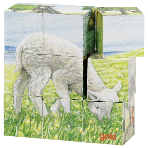 Goki Cube Puzzle Farm Animals