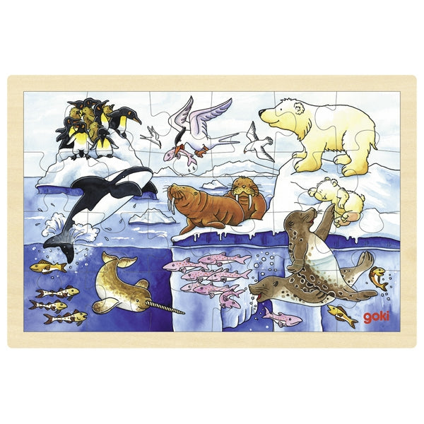 Goki Arctic Animals 24 Pc Wooden Puzzle