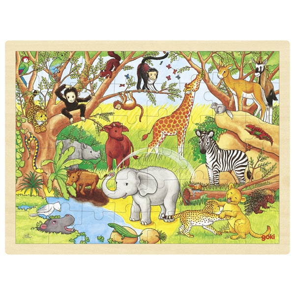 Goki African Animals 48 Pc Wooden Puzzle
