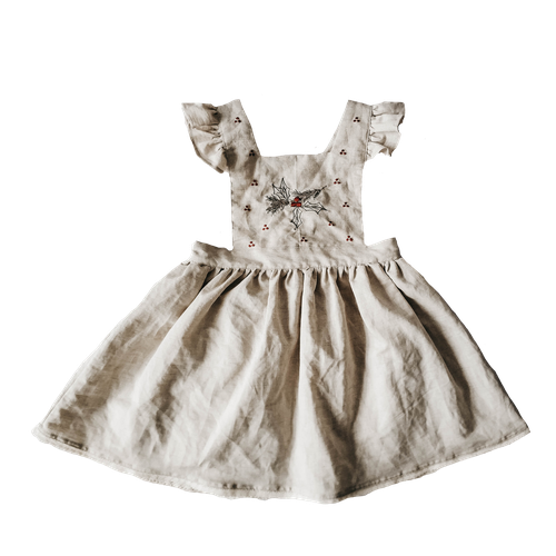 Piper Bug Christmas Linen Dress Holly (MID-LATE OCTOBER PRE-ORDER)-Jack & Willow