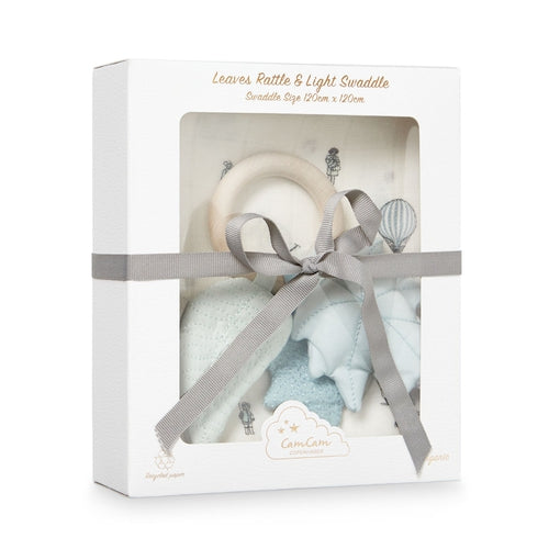 Cam Cam Gift Box - Swaddle & Leaves Rattle-Jack & Willow