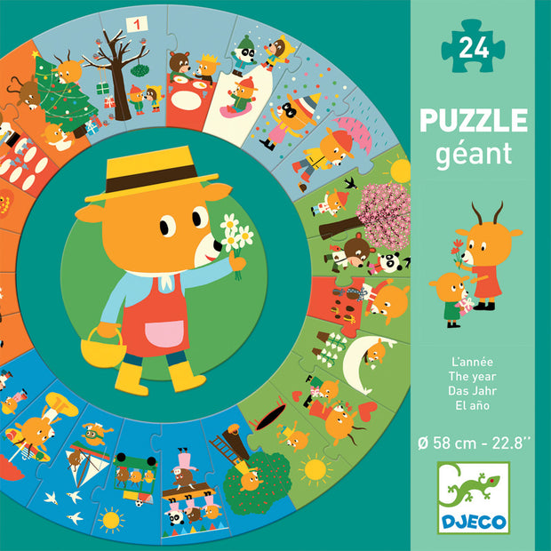 Djeco Giant Puzzle - The Year 24 pcs