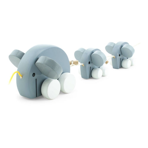 Miva Vacov Wooden Pull Along Elephant Family - Grey-Jack & Willow