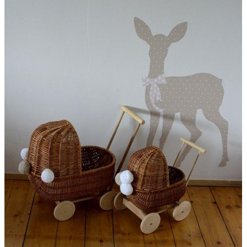 Lilu Wicker Dolls Pram Large - Natural (MARCH PRE-ORDER)