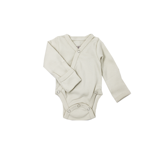 L'oved Baby Organic Long Sleeve Kimono Bodysuit - Stone-Jack & Willow