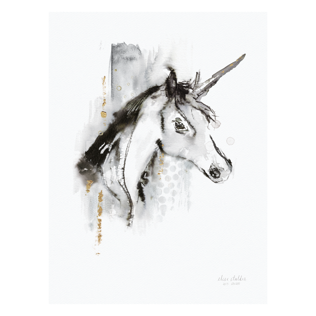 Elise Stalder Watercolour Print - Unicorn (Limited Edition)