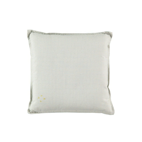 Camomile London Double Check Square Cushion - Blue / Off White-Jack & Willow