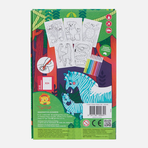 Tiger Tribe Hidden Pattern Colouring Set - Animals