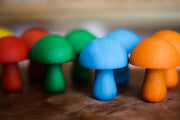 QToys Coloured Wooden Mushroom - Set of 10