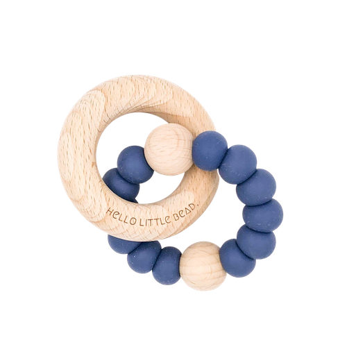 Hello Little Bead Beechy Rattle Teether - Navy-Jack & Willow