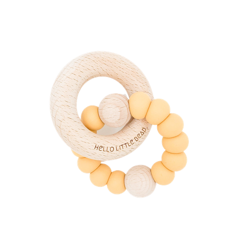 Hello Little Bead Beechy Rattle Teether - Mustard-Jack & Willow