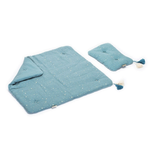 Lilu Muslin Quilt Dusty Blue - Cot-Jack & Willow