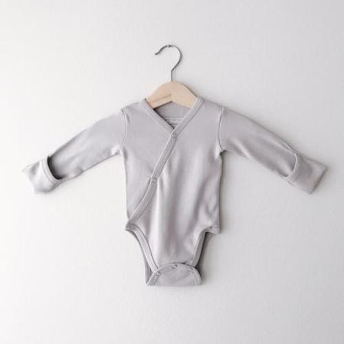L'oved Baby Long Sleeve Kimono Bodysuit - Light Gray-Jack & Willow
