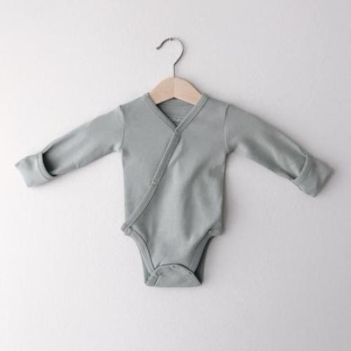 L'oved Baby Long Sleeve Kimono Bodysuit - Seafoam - Jack & Willow