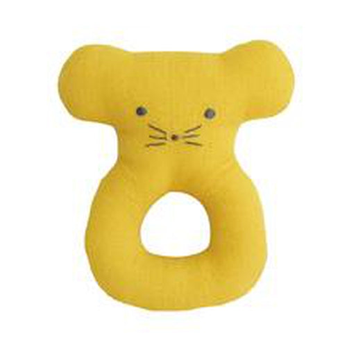 Alimrose Linen Mouse Grab Rattle - Butterscotch-Jack & Willow