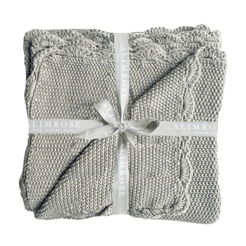Alimrose Mini Moss Stitch Blanket - Grey