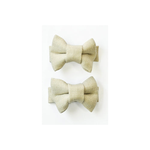Pretty Wild Twin Bow Snap Clips - Natural Linen-Jack & Willow