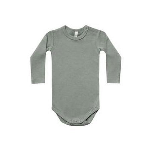 Quincy Mae Ribbed Longsleeve Onesie - Eucalyptus-Jack & Willow