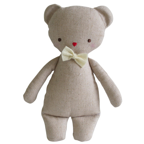 Alimrose Linen Mini Bear Rattle 18cm-Jack & Willow