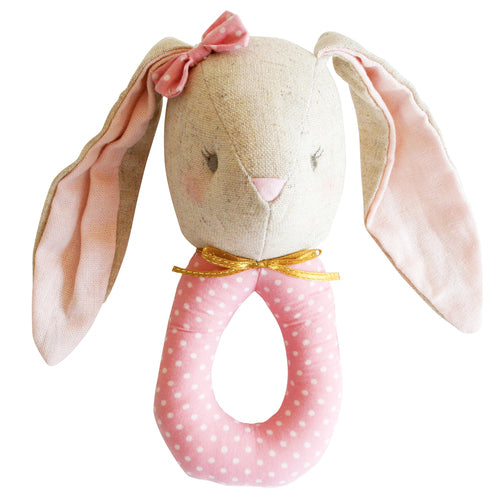 Alimrose Pearl Bunny Grab Rattle - Pink Blossom