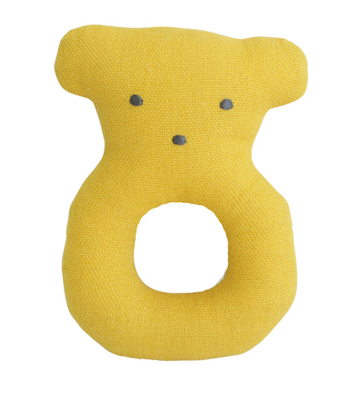 Alimrose Linen Bear Grab Rattle - Butterscotch